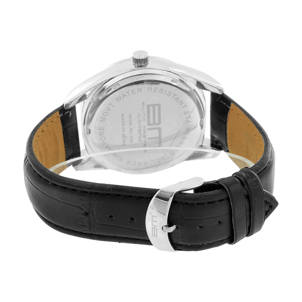 Mens Silver Tone Watch Black Leather Band Steel Back