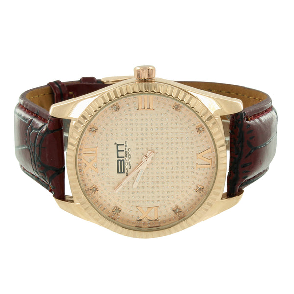 Rose Gold Tone Watch Brown Leather Strap Fluted Bezel Stainless Steel Back New