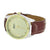 Brown Leather Strap Watch Gold Fluted Bezel Analog Stainless Steel Back Classy