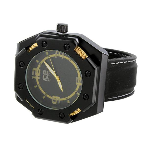 Mens Black Finish Watch Gold Wire Design Analog Custom Designer Leather Strap