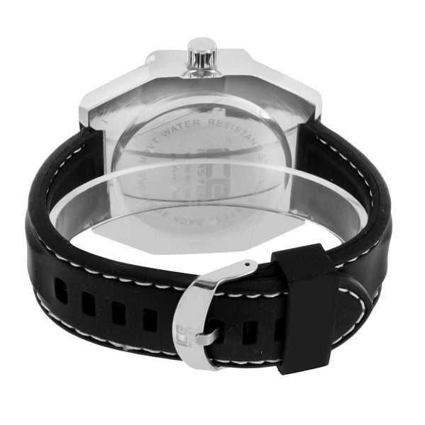 Mens Silver Tone Watch Black Leather Strap Analog Screw Design Bezel