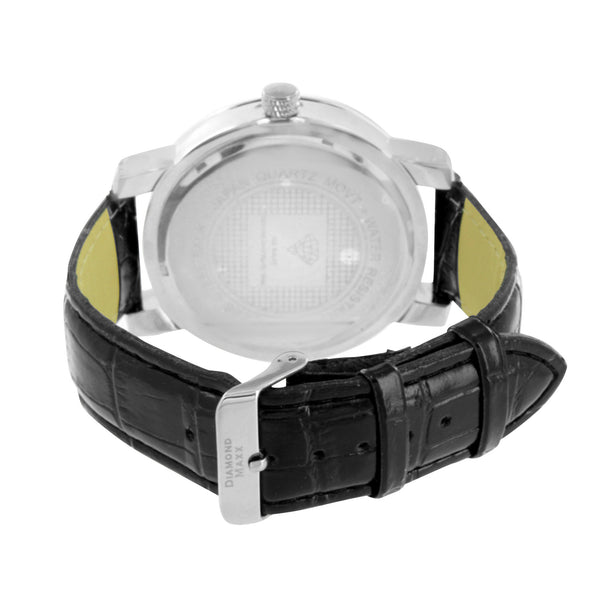 Diamond Watch Mens White Gold Tone Leather Band Diamond Master