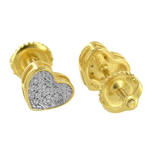 Heart Shape Earrings Womens Genuine Diamonds