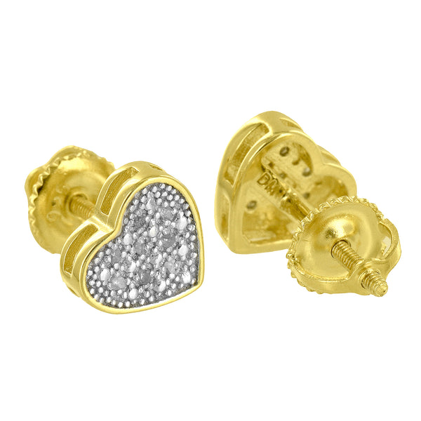 Womens Heart Earrings Yellow Gold Over Sterling Silver Real Diamond