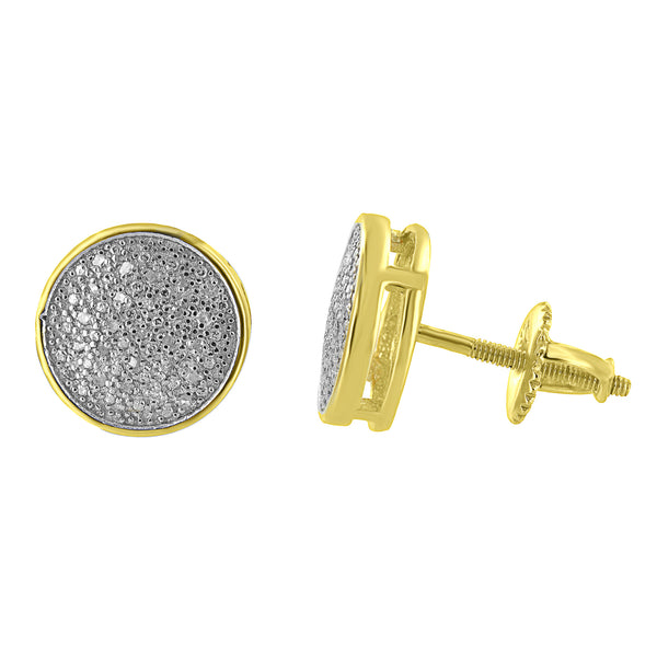 Gold Finish Round Earrings Sterling Silver Screw Back Genuine Diamonds