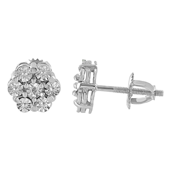 Fanook Diamond Earrings Womens Mens Sterling 925 Silver Screw On