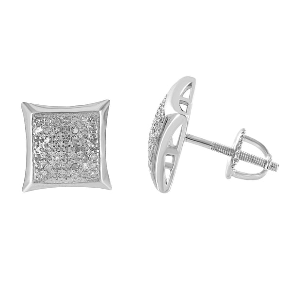 Kite Design Earrings Genuine Diamonds Screw On 10 MM