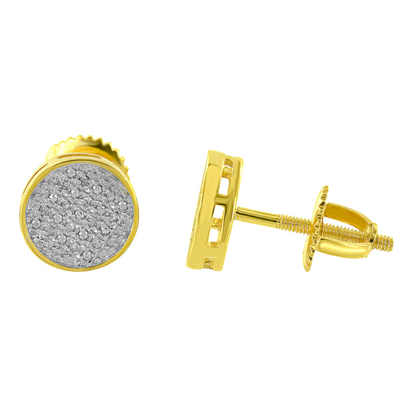 Gold Finish Round Earrings Sterling Silver 925 Genuine Diamonds