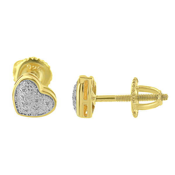 Heart Shape Earrings Gold Finish Sterling Silver Diamonds Micro Pave