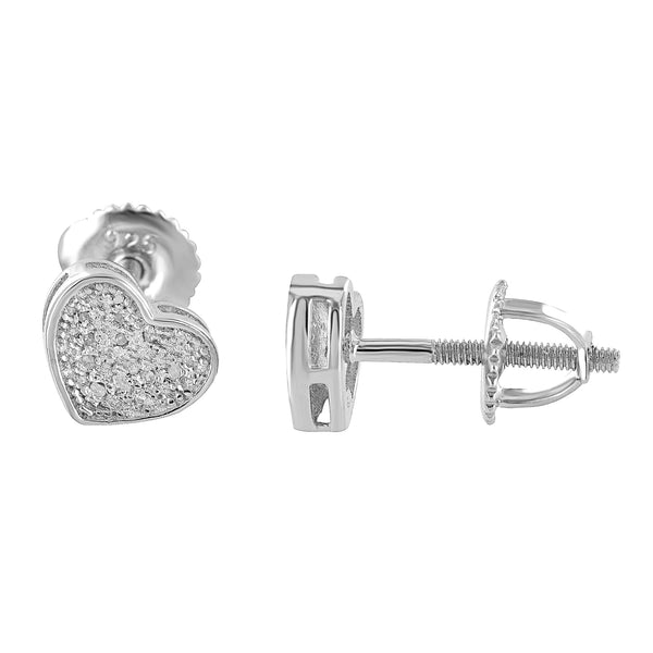 Sterling Silver Heart Earrings Womens Genuine Diamonds Screw Back