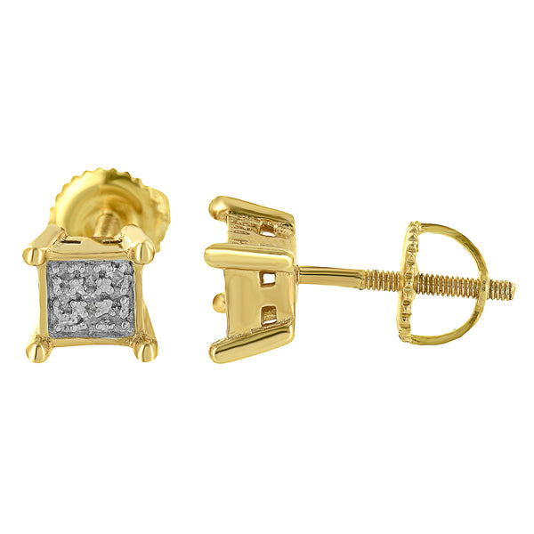 Gold Finish Square Earrings Sterling Silver Genuine Diamonds