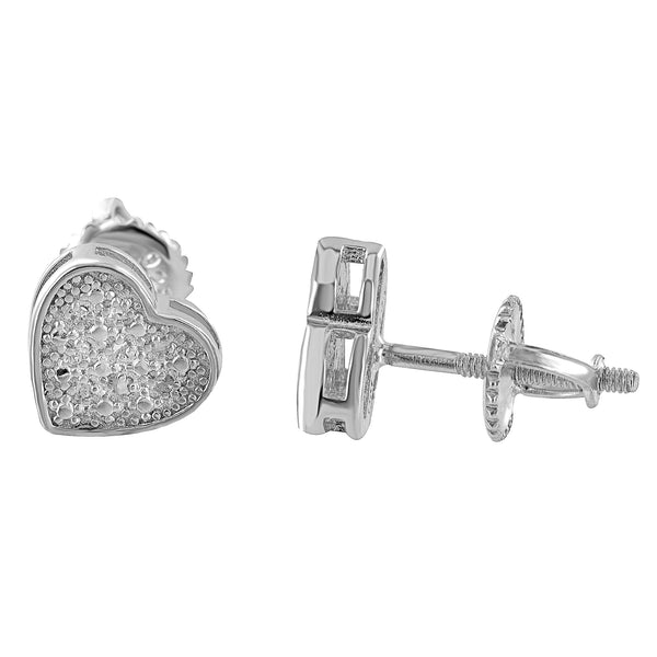 Womens Heart Design Earrings Sterling SIlver With Genuine Diamonds