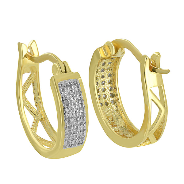 Sterling Silver Hoop Earrings Huggies Real Diamonds Yellow Gold Finish