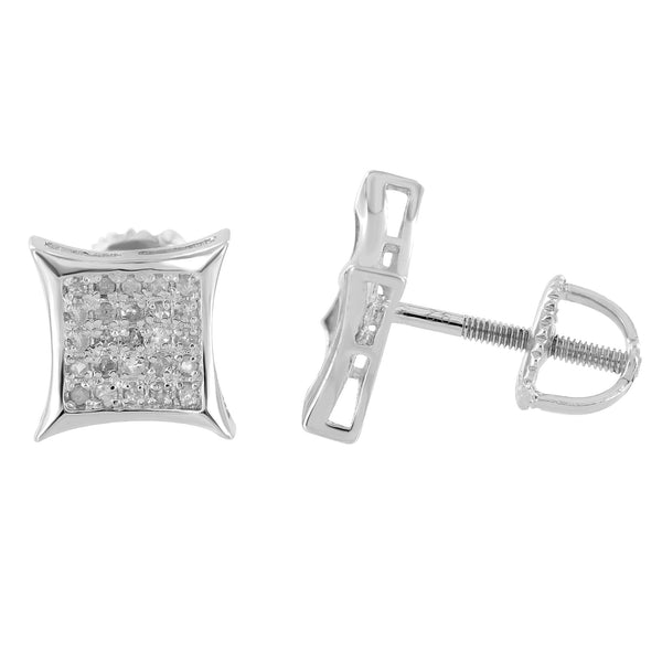 Diamond Kite Shape Earrings Mens Womens Sterling Silver
