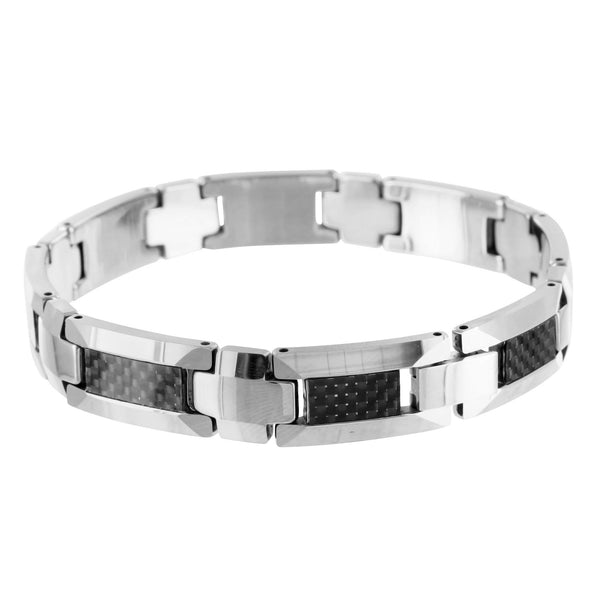 Solid Stainless Black White Gold Finish Mens 9.0