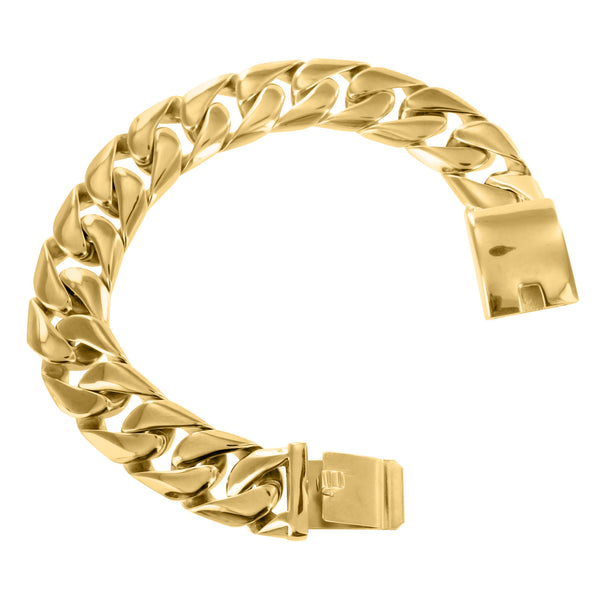 Miami Cuban Mens Bracelet Solid Stainless Steel Yellow Gold Finish