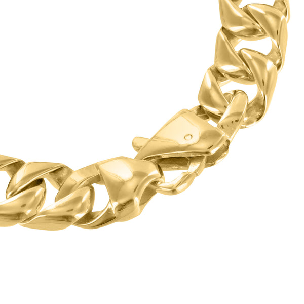 Mens Miami Cuban Solid Stainless Steel Bracelet Gold Tone