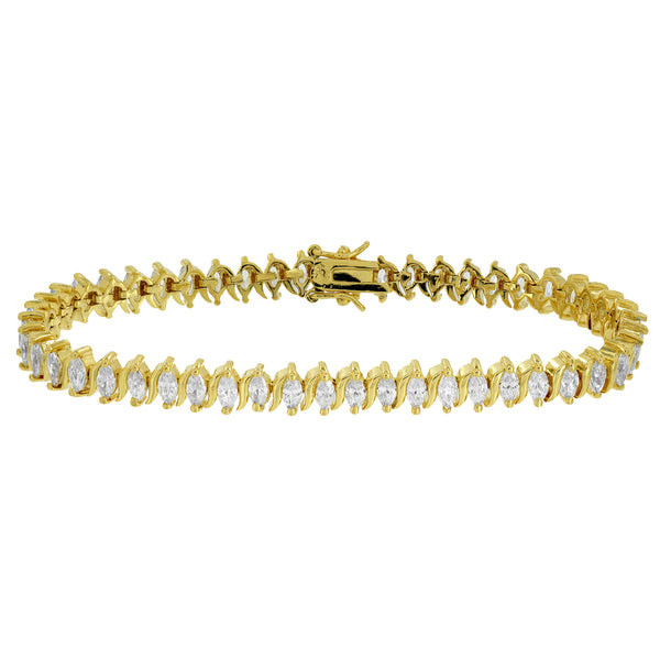 Pear Cut Link Bracelet Womens Yellow Gold Finish Tennis Style Simulated Diamonds