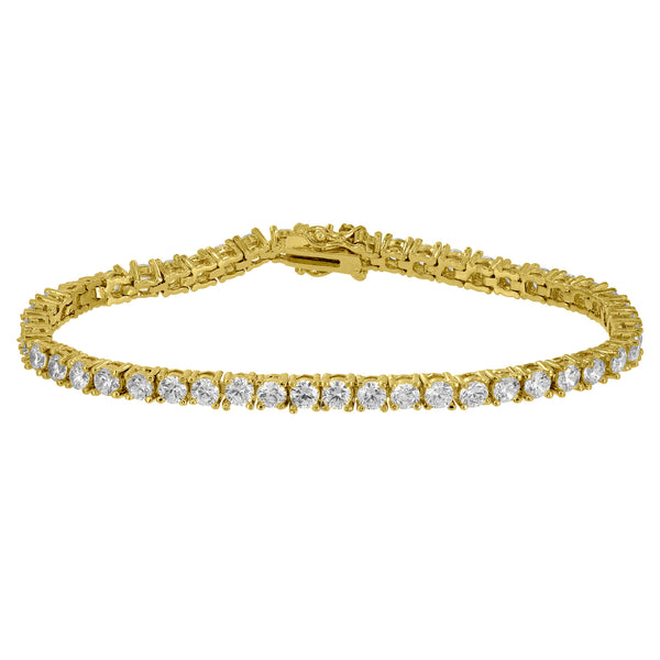 Tennis Link Design Bracelet Round Cut Simulated Diamonds Gold Finish Womens 4 MM