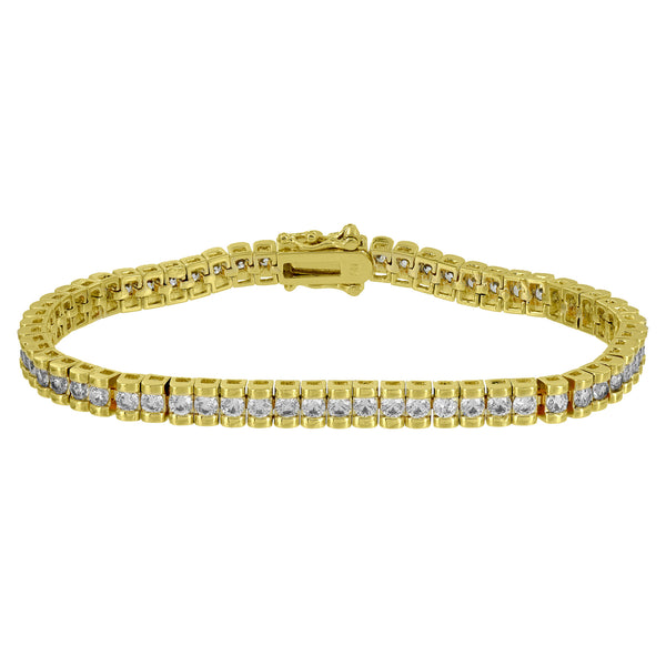 Gold Finish Womens Bracelet Designer Custom Simulated Diamonds Unique 7 Inch