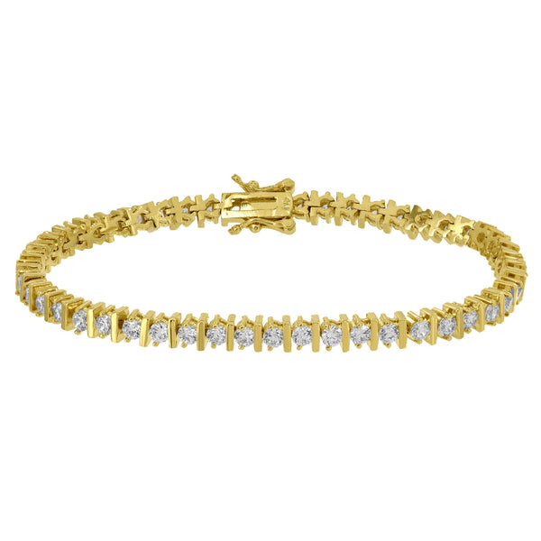 Ladies Tennis Link Bracelet Yellow Gold Finish Simulated Diamonds Round Cut 7.5