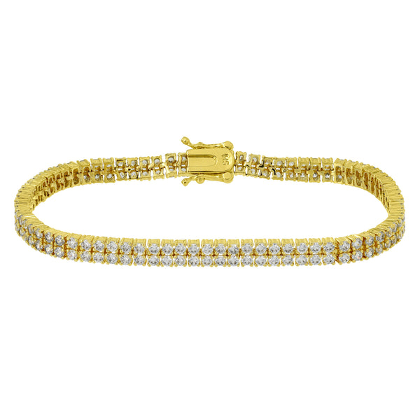 Womens 2 Row Bracelet Yellow Gold Finish Simulated Diamonds Designer Elegant