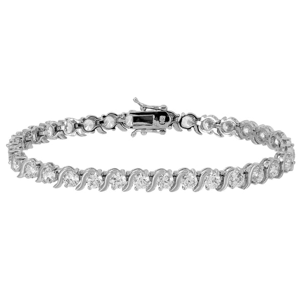 Ladies Tennis Link Bracelet Round Cut Simulated Diamonds Womens Rhodium Finish