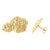 Yellow Gold Nugget Mens Earrings in Sterling Silver Simulated Diamond Studs