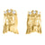 XL Jesus Face Yellow Gold Finish Lab Diamond Sterling Silver Earrings