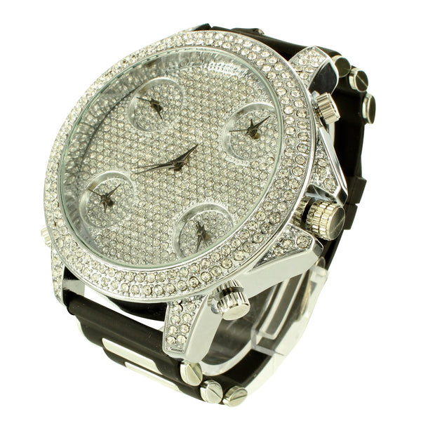 White Gold Tone Lab Diamond Techno Pave Bullet Band Watch
