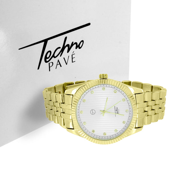 Custom Elegant 14k Gold Finish White Face Techno Pave Designer Watch & Bracelet Gift Set