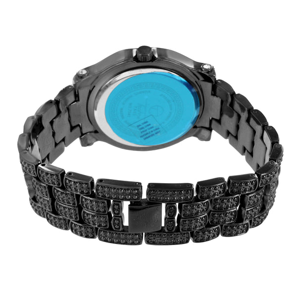 Lab Create Diamond Watch Black Gold Tone Fully Iced Out