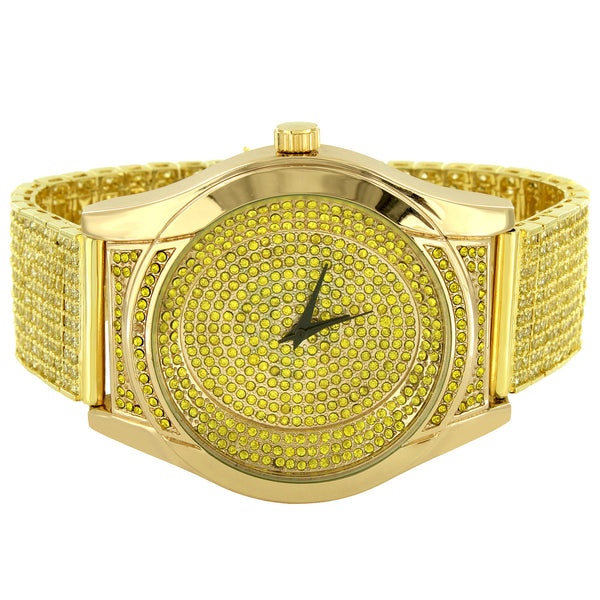 Men's Fully Iced Out Canary Simulated Diamonds Classy Band Designer Watch