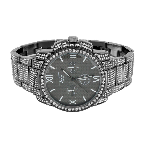 Mens Black Finish Watch  White Lab Diamond Techno Pave Watch