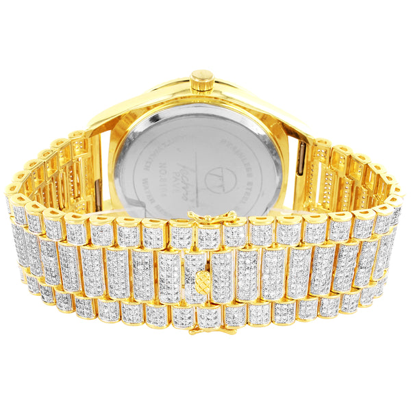 14k Gold Finish Fluted Bezel Presidential Look Custom Band Watch
