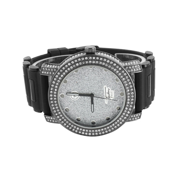 Mens Black Watch Illusion Dial Bullet Black Band Simulated Diamonds Analog Jojo
