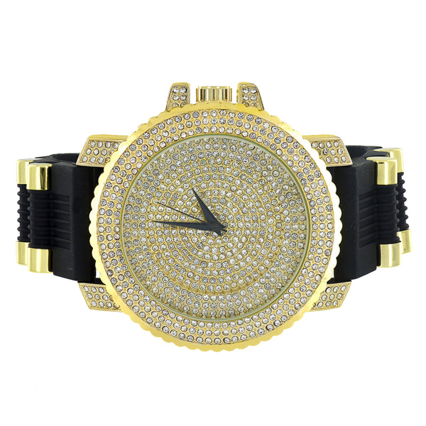 Jojo Jojino Mens Watch Gold Finish Iced Out Bezel Dial