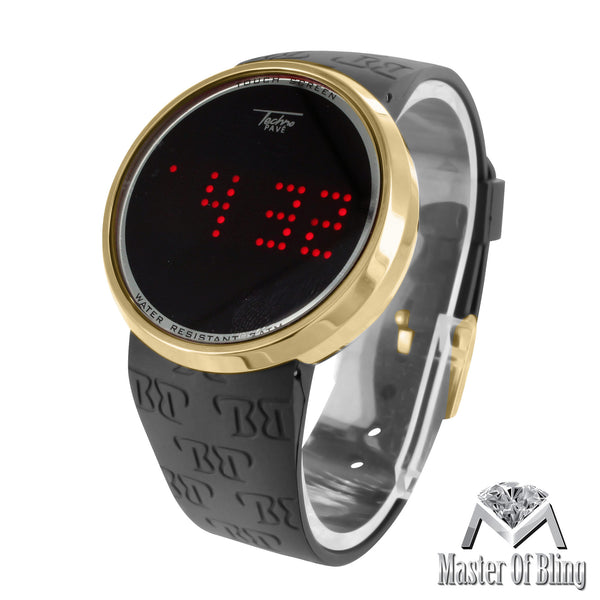 Gold Tone Touch Screen Techno Pave Digital Black Band LED Watch