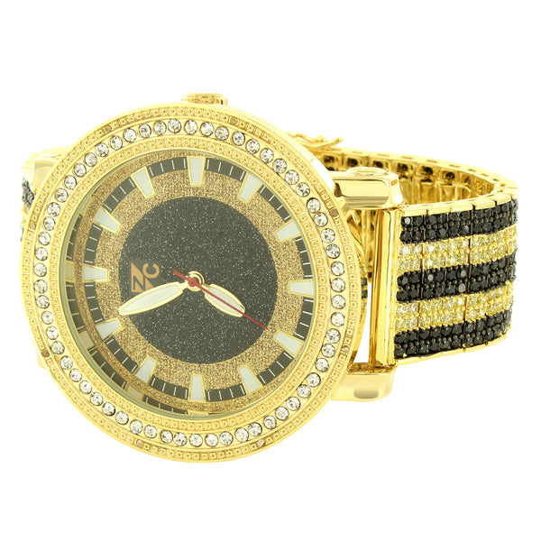 Designer Unique Fully Iced Out Black Yellow Lab Diamonds 14k Gold Finish Men's Watch