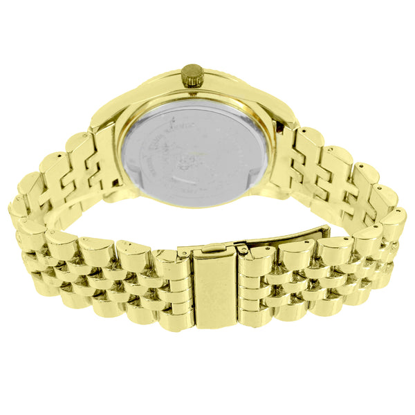 Gold Tone Mens Watch Fluted Bezel With Matching Bracelet Joe Rodeo Look 45 MM