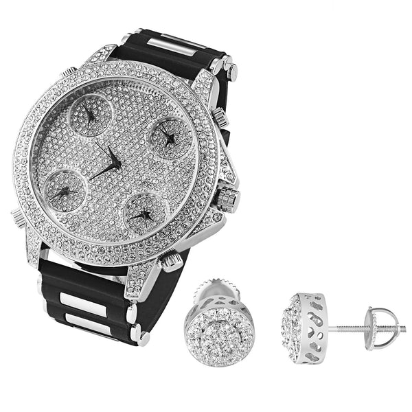 Men's White Gold tone 5 Time Zone Watch Earrings Gift Combo Set