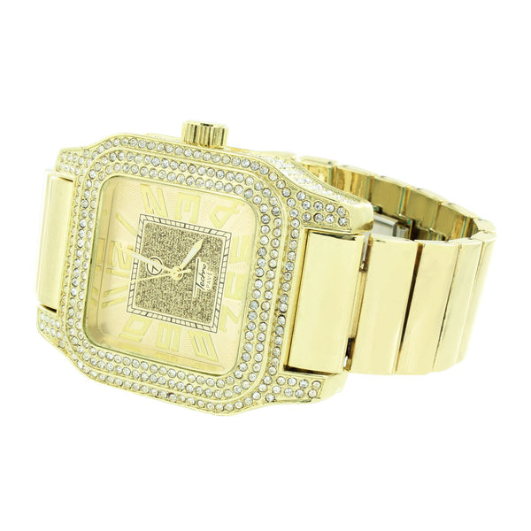 Gold Tone Watch Stretch Band Square Face