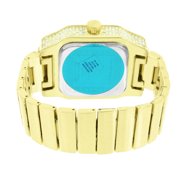 Gold Tone Watch Stretch Band Square Face Iced Out