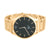 Rose Gold Finish Watch Black Dial Round Face Techno Pave
