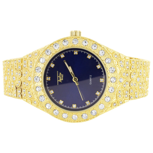 Custom Royal Blue Face Men's Solitaire Bling Nugget Watch