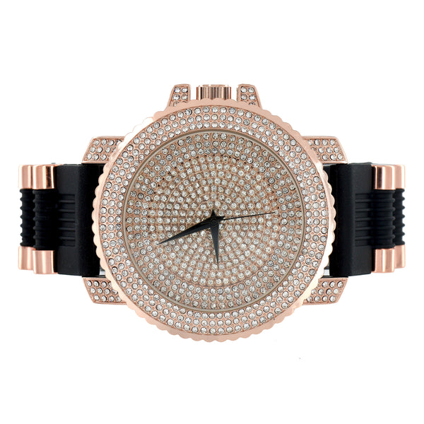 Rose Gold Finish Watch Iced Out Dial Face