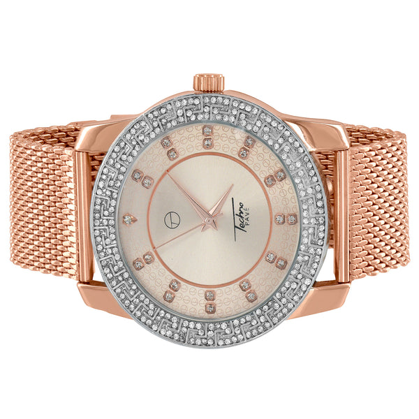 Rose Gold Tone Watch Mesh Bracelet Analog Simulated Diamonds Designer Steel Back