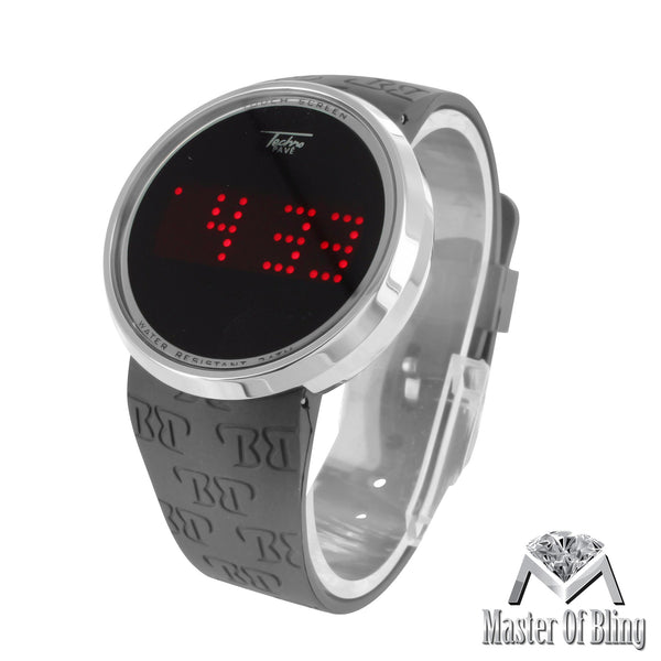 Techno Pave White Gold Tone Touch Screen Red LED Dial Digital Watch