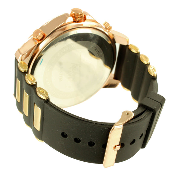 Techno Pave Rose Gold Tone Lab Diamond Iced Out Watch