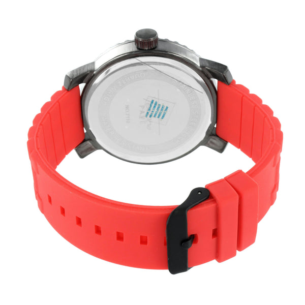 Red Rubber Band Watch Black Finish Stainless Steel Back